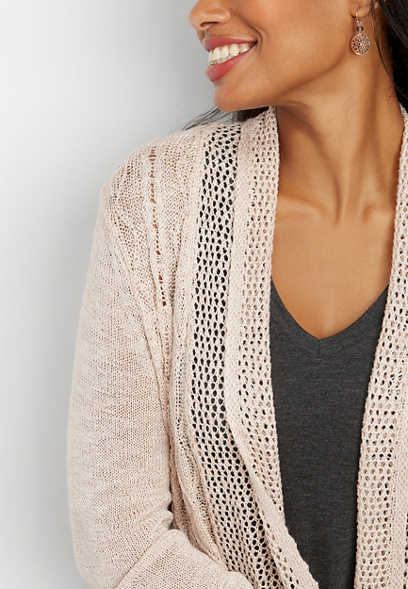 open knit shimmer cardigan