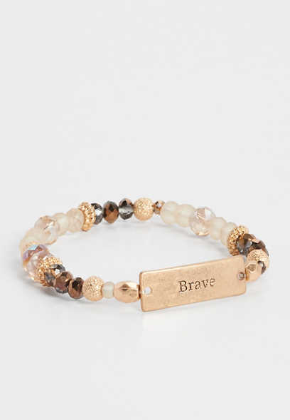 brave beaded stretch bracelet