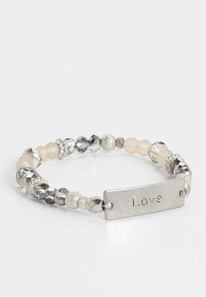 love beaded stretch bracelet