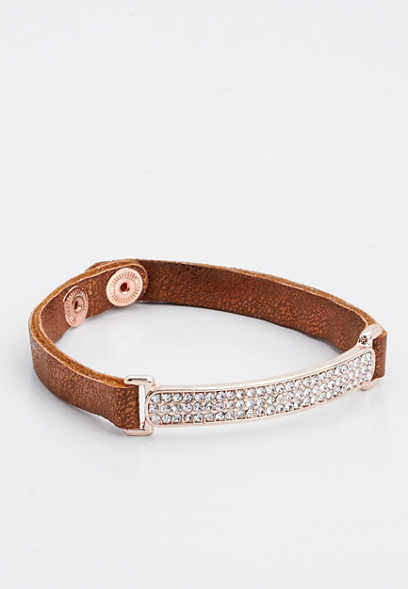 brown rhinestone bar snap bracelet