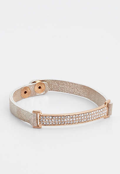 tan rhinestone bar snap bracelet