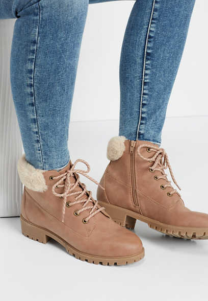 Madden Girl Fresh sherpa combat boot