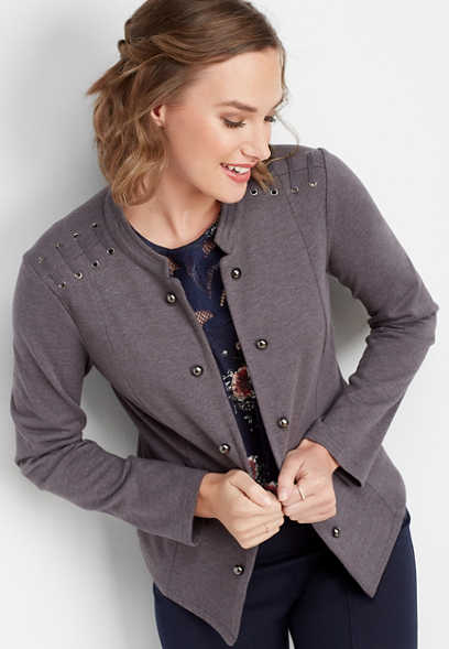 lattice shoulder military cardigan
