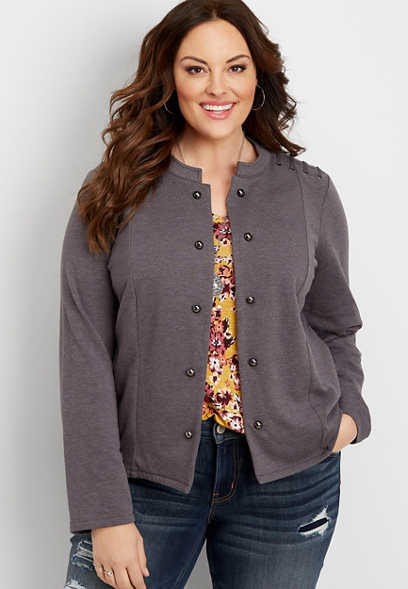 plus size lattice shoulder military cardigan
