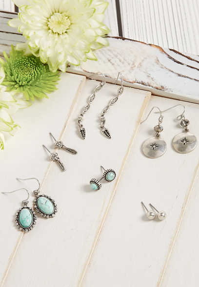 Silver Jeans Co.® six piece blue stone earring set
