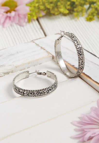 Silver Jeans Co.® engraved hoop earring