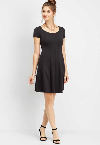 seamed ponte skater dress