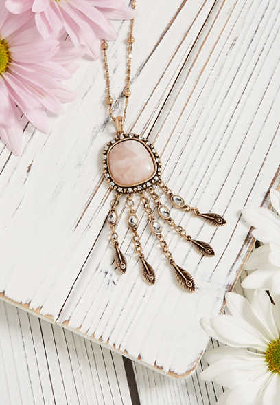 Silver Jeans Co.® pink stone feather pendant necklace