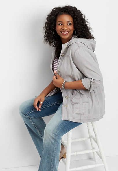 plus size button front anorak jacket