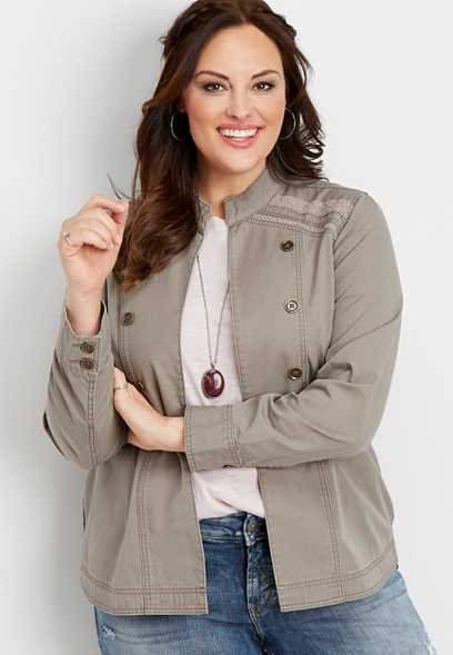 plus size crocheted trim military jacket