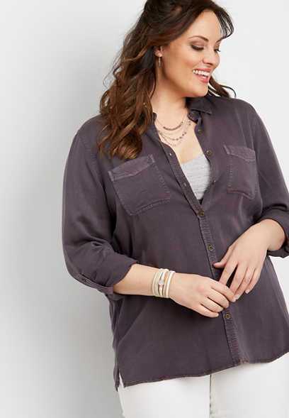 plus size solid button front long sleeve top