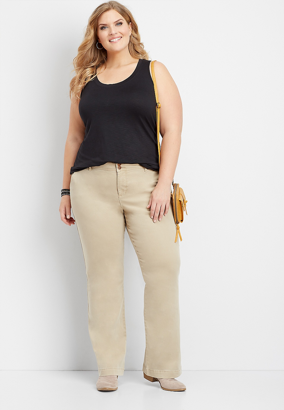 8633002544 plus size khaki chino bootcut pants