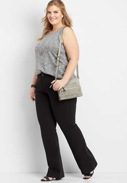 plus size black chino bootcut pant