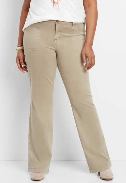 2998645f10d plus size dark khaki chino slim boot pant