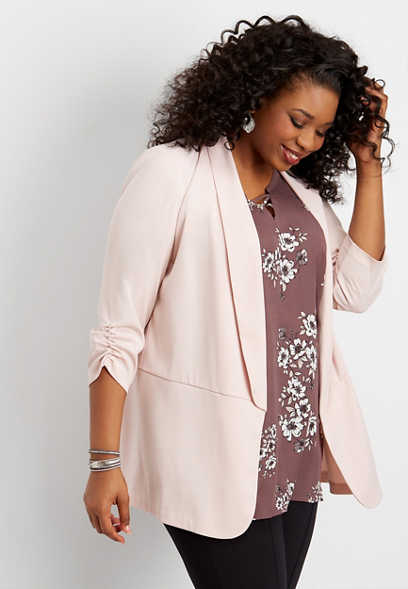 plus size solid long open front blazer