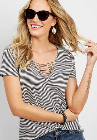24/7 stripe strappy v-neck tee