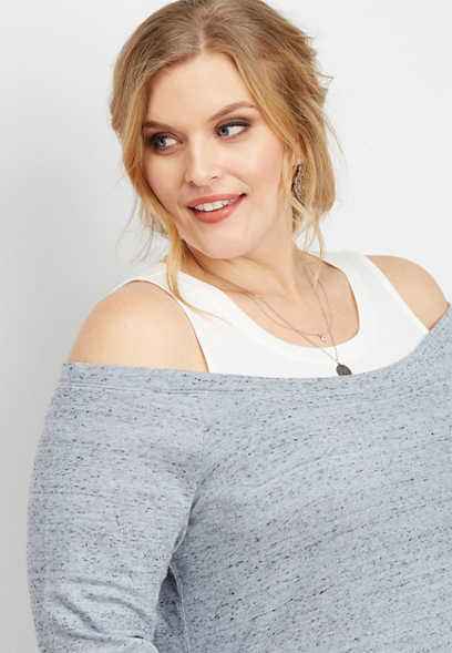plus size cold shoulder built in tank sweatshirt