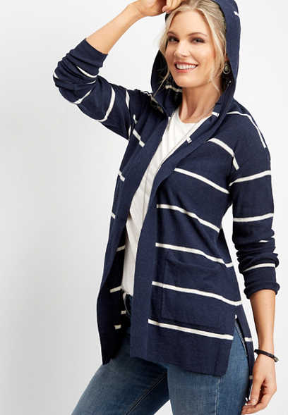 hooded stripe duster cardigan
