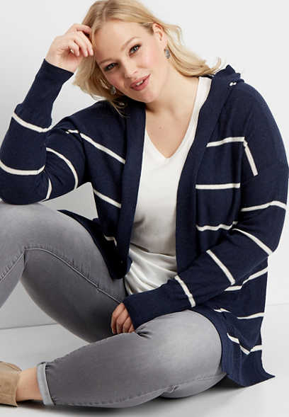 plus size hooded stripe duster cardigan