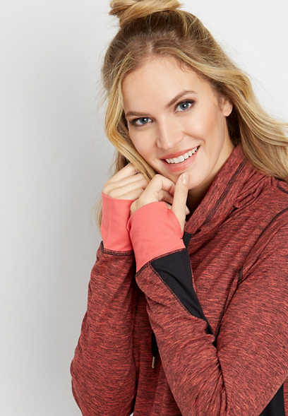 high-low hem cowl neck pullover sweatshirt