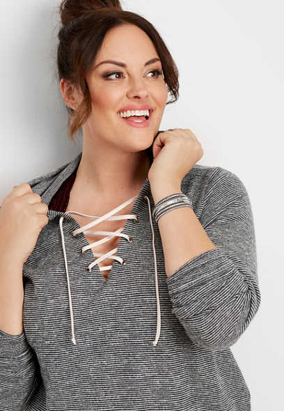 plus size stripe lace up hoodie