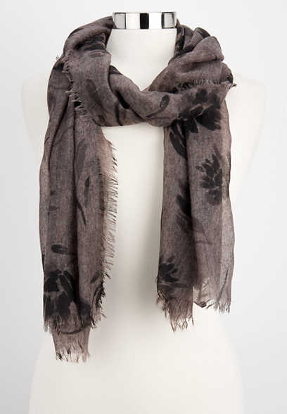 two tone woven floral oblong scarf