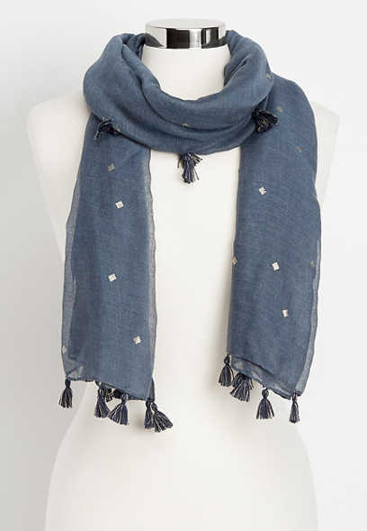 diamond foil tassel oblong scarf