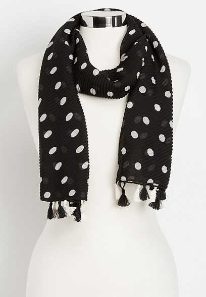 pleated dot oblong scarf