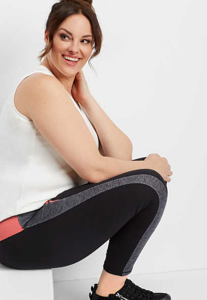 plus size colorblock 7/8 active legging