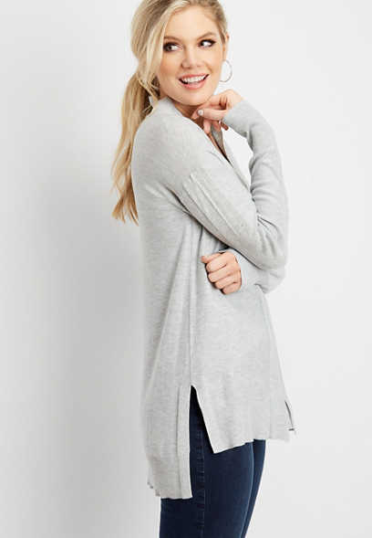 solid open front duster cardigan