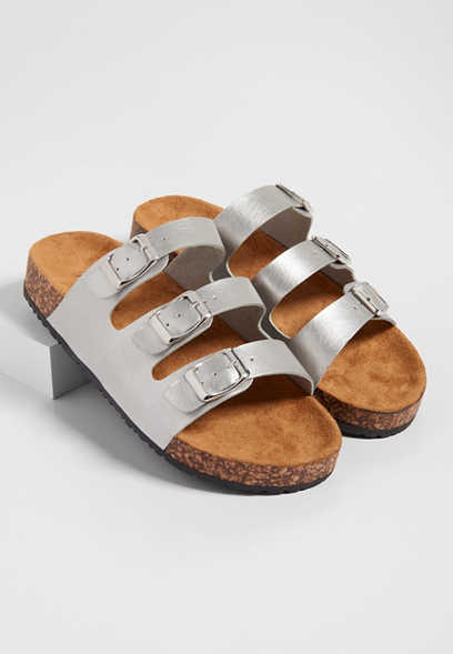 Abby triple strap molded footbed sandal