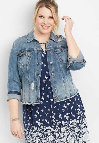 plus size medium wash fray hem cropped jacket