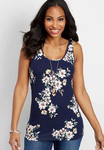 floral print basic scoop tank