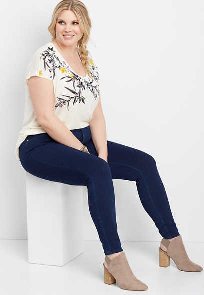 plus size pull on knit denim skinny pant