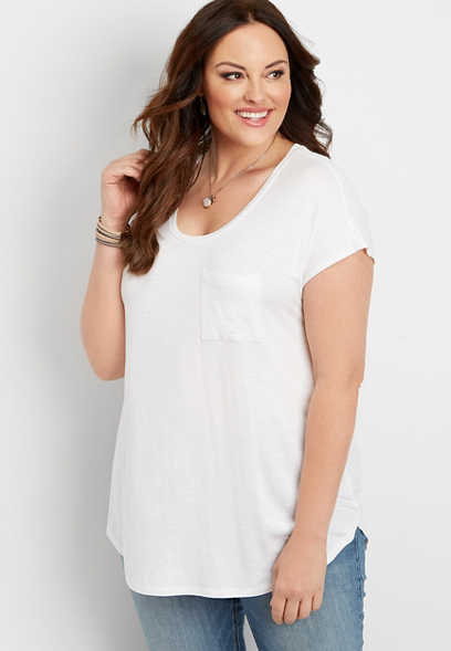 plus size 24/7 single pocket dolman tee