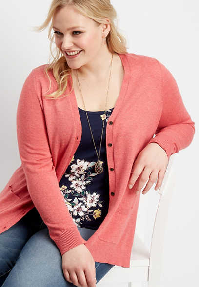 plus size solid open front boyfriend cardigan