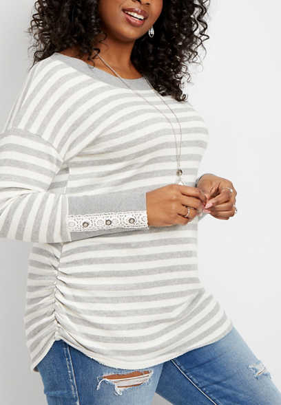 plus size crocheted cuff stripe print tunic pullover