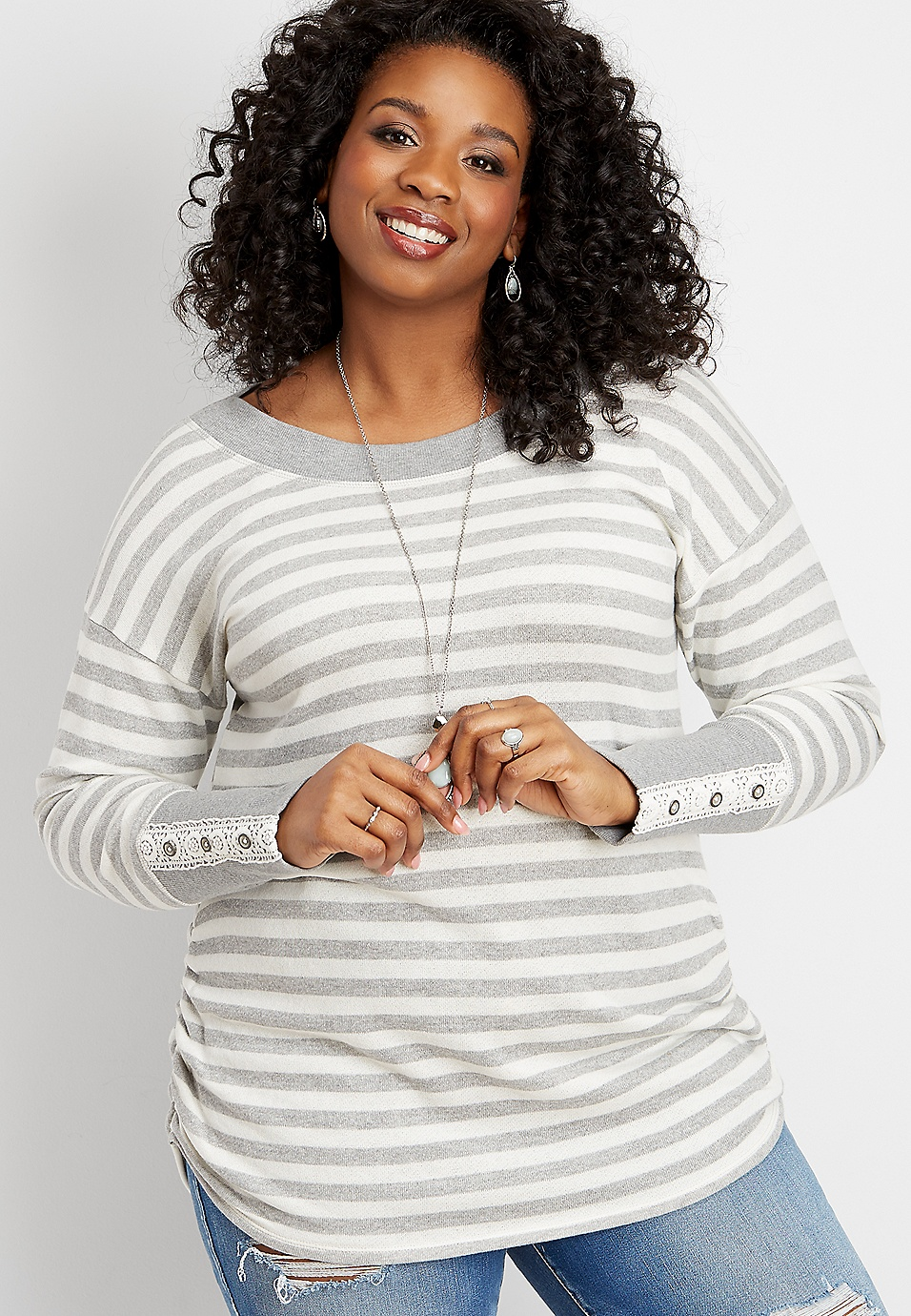 37730627ebaf4 plus size crocheted cuff stripe print tunic pullover