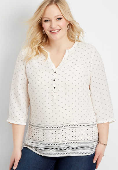 plus size geo stripe henley blouse