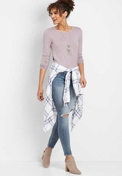 oversized plaid button down tunic top