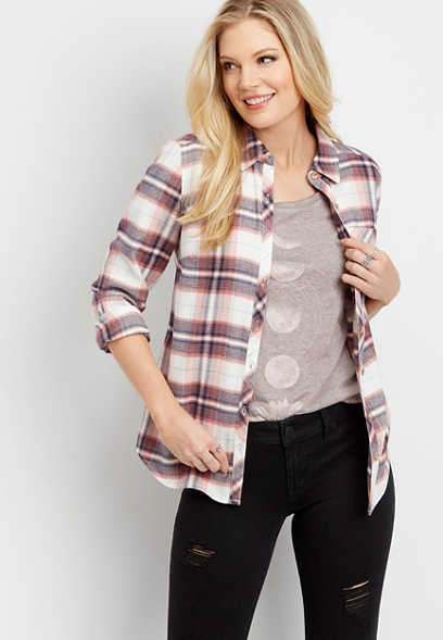 plaid button front flannel shirt