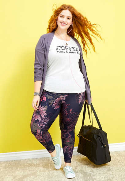 plus size floral print 7/8 active legging