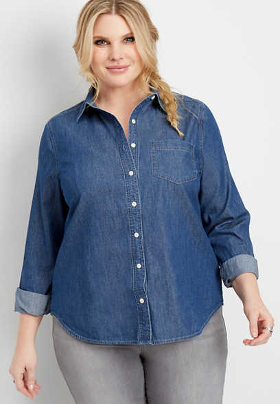 plus size dark wash button down shirt