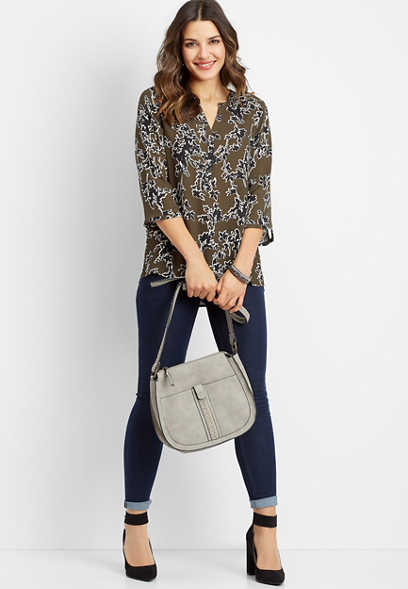 floral print henley popover blouse