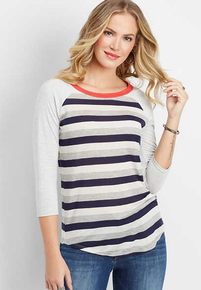 24/7 stripe mix pop trim baseball tee