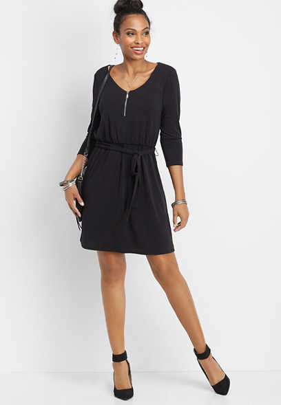solid zipper v-neck dress