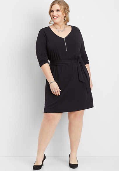 plus size solid zipper v-neck dress