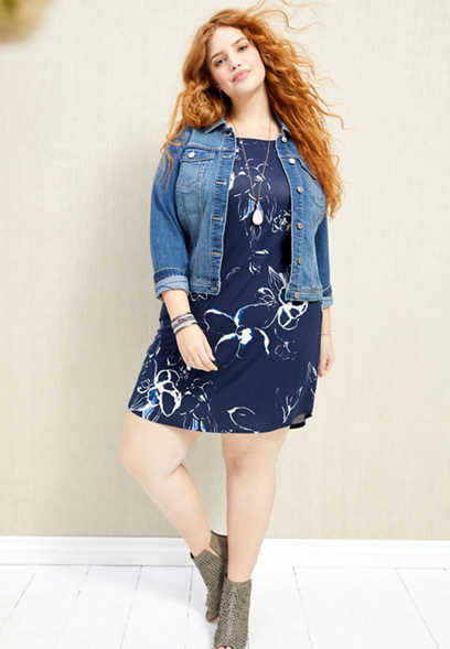 plus size floral crew neck shirtdress
