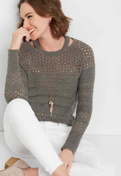 binder slub cutout yoke sweater