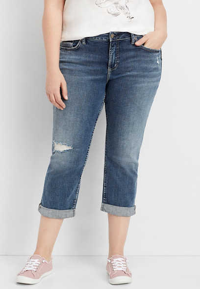 plus size Silver Jeans Co.® Elyse destructed capri
